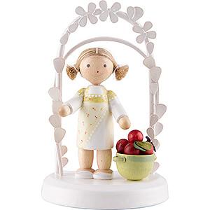 Geschenkideen Geburtstag Flachshaarkinder Geburtstagskind mit Äpfeln - 7,5 cm