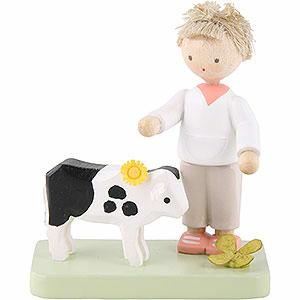 Kleine Figuren & Miniaturen Flade Flachshaarkinder Flachshaarkinder Junge mit Kälbchen - 5 cm