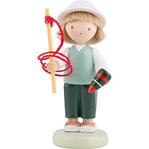 Kleine Figuren & Miniaturen Flade Flachshaarkinder Flachshaarkinder Junge mit Kreisel und Peitsche - 5 cm