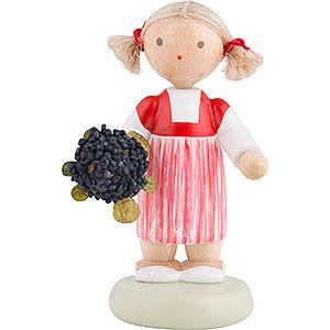 Kleine Figuren & Miniaturen Flade Flachshaarkinder Flachshaarkinder Kleines Mädchen mit Holunder - 5 cm