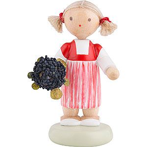 Kleine Figuren & Miniaturen Flade Flachshaarkinder Flachshaarkinder Kleines Mädchen mit Holunder - ca. 5 cm