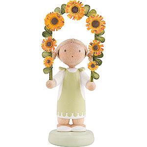 Kleine Figuren & Miniaturen Flade Flachshaarkinder Flachshaarkinder Mädchen mit Blumengirlande - 5 cm