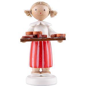 Kleine Figuren & Miniaturen Flade Flachshaarkinder Flachshaarkinder Mädchen mit Brezeln - 5 cm