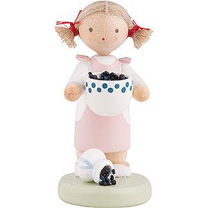 Kleine Figuren & Miniaturen Flade Flachshaarkinder Flachshaarkinder Mädchen mit Heidelbeeren - ca. 5 cm