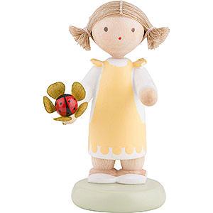 Kleine Figuren & Miniaturen Flade Flachshaarkinder Flachshaarkinder Mädchen mit Marienkäfer - ca. 5 cm