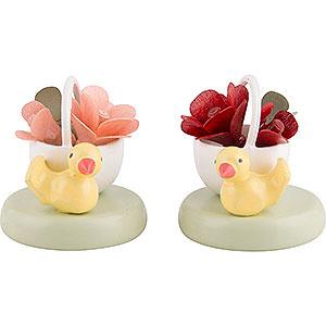 Kleine Figuren & Miniaturen Flade Flachshaarkinder Flachshaarkinder Zwei Rosenkörbchen - 2 cm