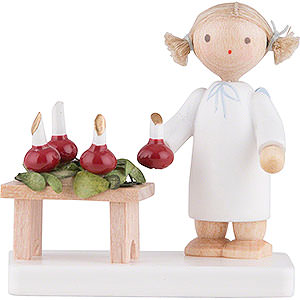 Angels Flade Flax Haired Angels Flax Haired Angel with Advent Wreath - 5 cm / 2 inch