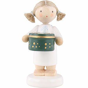 Angels Flade Flax Haired Angels Flax Haired Angel with Can with Sweets, Green - 5 cm / 2 inch