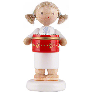 Angels Flade Flax Haired Angels Flax Haired Angel with Can with Sweets, Red - 5 cm / 2 inch