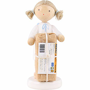 Angels Flade Flax Haired Angels Flax Haired Angel with Christmas Gift - 5 cm / 2 inch