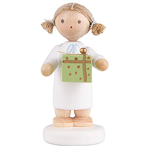 Angels Flade Flax Haired Angels Flax Haired Angel with Christmas Gift, Green - 5 cm / 2 inch