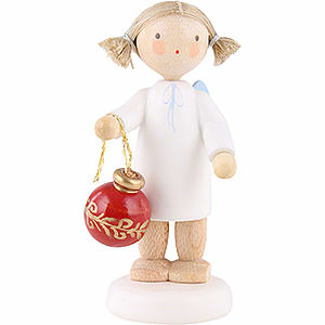 Angels Flade Flax Haired Angels Flax Haired Angel with Christmas Tree Ball - 5 cm / 2 inch