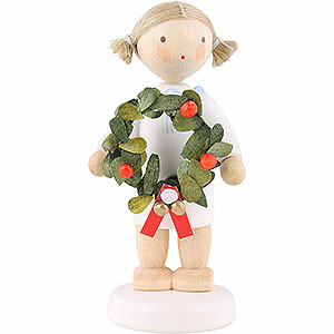 Angels Flade Flax Haired Angels Flax Haired Angel with Christmas Wreath - 5 cm / 2 inch