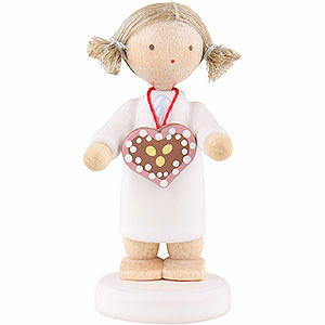Angels Flade Flax Haired Angels Flax Haired Angel with Ginger Bread Heart - 5 cm / 2 inch