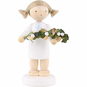 Angels Flade Flax Haired Angels Flax Haired Angel with Mistletoe - 5 cm / 2 inch