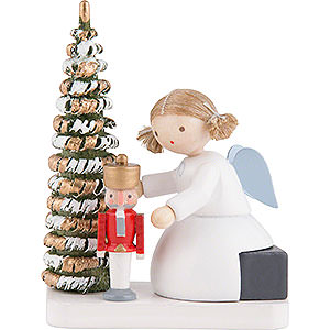 Angels Flade Flax Haired Angels Flax Haired Angel with Nutcracker at the Christmas Tree - 5 cm / 2 inch