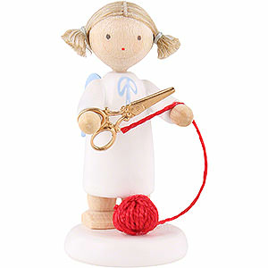 Angels Flade Flax Haired Angels Flax Haired Angel with Scissors and Ball of Wool - 5 cm / 2 inch