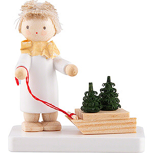 Angels Flade Flax Haired Angels Flax Haired Angel with Sled and Tree Saplings - 5 cm / 2 inch