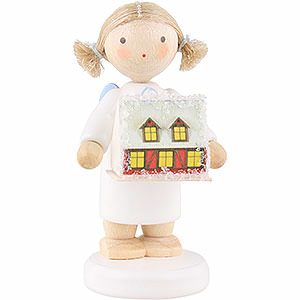 Angels Flade Flax Haired Angels Flax Haired Angel with with Ore Mountain Light House - 5 cm / 2 inch