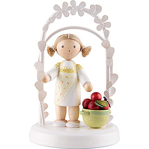 Gift Ideas Birthday Flax Haired Children - Birthday Child with Apples - 7,5 cm / 3 inch