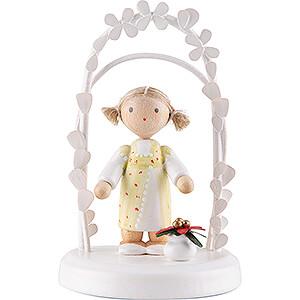 Gift Ideas Birthday Flax Haired Children - Birthday Child with Christmas Flower - 7,5 cm / 3 inch