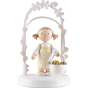 Gift Ideas Birthday Flax Haired Children - Birthday Child with Easter Basket - 7,5 cm / 3 inch
