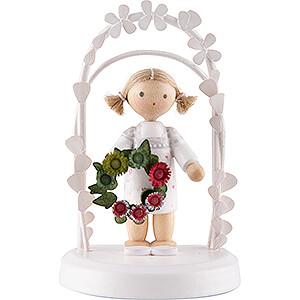 Gift Ideas Birthday Flax Haired Children - Birthday Child with Flower Wreath - green / red - 7,5 cm / 3 inch