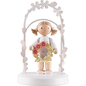 Gift Ideas Birthday Flax Haired Children - Birthday Child with Flower Wreath - pink - 7,5 cm / 3 inch