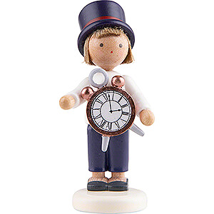 Small Figures & Ornaments Flade Flax Haired Children Flax Haired Children Boy with Alarm Clock - 5 cm / 2 inch