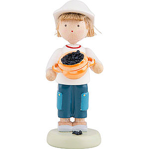 Small Figures & Ornaments Flade Flax Haired Children Flax Haired Children Boy with Blueberries - Ca. 5 cm / 2 inch