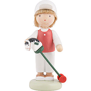 Small Figures & Ornaments Flade Flax Haired Children Flax Haired Children Boy with Hobby Horse - 5 cm / 2 inch
