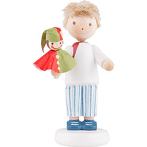 Small Figures & Ornaments Flade Flax Haired Children Flax Haired Children Boy with Punch Red/Green - 5 cm / 2 inch