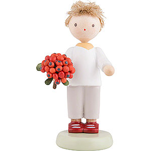 Small Figures & Ornaments Flade Flax Haired Children Flax Haired Children Boy with Rowan Berry - 5 cm / 2 inch