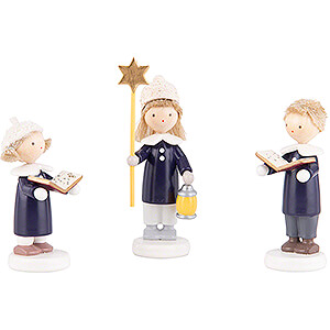 Small Figures & Ornaments Flade Flax Haired Children Flax Haired Children Carolers of Olbernhau with Star - 5 cm / 2 inch