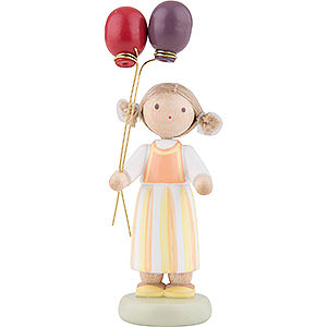 Small Figures & Ornaments Flade Flax Haired Children Flax Haired Children Girl with Balloons - 6,5 cm / 2,5 inch