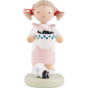 Small Figures & Ornaments Flade Flax Haired Children Flax Haired Children Girl with Blueberries - 5 cm / 2 inch