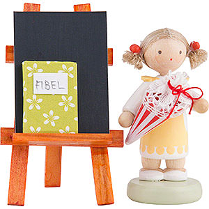 Gift Ideas Back to School Flax Haired Children Girl with Candy Cone, Blackboard and Reader - 5 cm / 2 inch