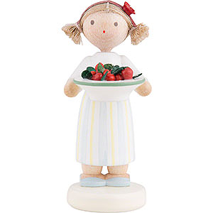 Small Figures & Ornaments Flade Flax Haired Children Flax Haired Children Girl with Cherries - 5 cm / 2 inch