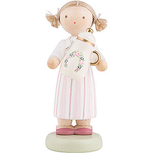 Small Figures & Ornaments Flade Flax Haired Children Flax Haired Children Girl with Coffee Pot - 5 cm / 2 inch