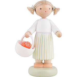 Gift Ideas Easter Flax Haired Children Girl with Easter Basket - 5 cm / 2 inch