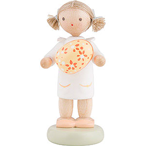 Gift Ideas Easter Flax Haired Children Girl with Easter Egg, Yellow - 5 cm / 2 inch