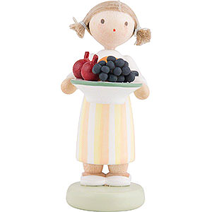 Small Figures & Ornaments Flade Flax Haired Children Flax Haired Children Girl with Fruit Platter - 5 cm / 2 inch