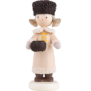 Small Figures & Ornaments Flade Flax Haired Children Flax Haired Children Girl with Fur Hat and Muff - 5 cm / 2 inch