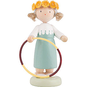 Small Figures & Ornaments Flade Flax Haired Children Flax Haired Children Girl with Hula Hoop - 5 cm / 2 inch