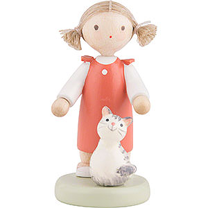 Small Figures & Ornaments Flade Flax Haired Children Flax Haired Children Girl with Kitten - 5 cm / 2 inch