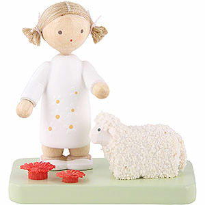 Small Figures & Ornaments Flade Flax Haired Children Flax Haired Children Girl with Little Lamb - 5 cm / 2 inch
