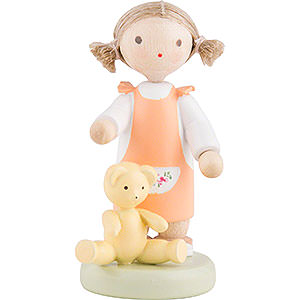 Small Figures & Ornaments Flade Flax Haired Children Flax Haired Children Girl with Teddy Bear - 5 cm / 2 inch