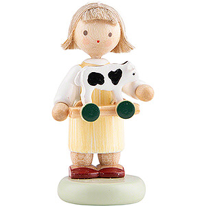 Small Figures & Ornaments Flade Flax Haired Children Flax Haired Children Girl with Toy Calf - 5 cm / 2 inch