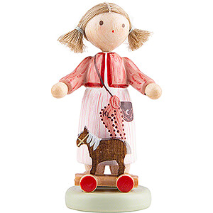 Small Figures & Ornaments Flade Flax Haired Children Flax Haired Children Girl with Toy Horse - 5 cm / 2 inch
