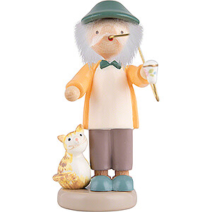 Small Figures & Ornaments Flade Flax Haired Children Flax Haired Children Grampa with Kitten - 5 cm / 2 inch